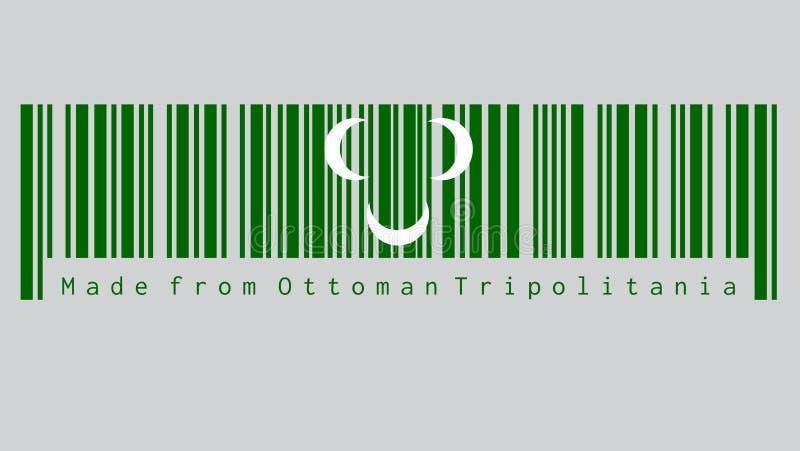 El código de barras fijó el color de la bandera del siglo XVIII de Ottoman Tripolitania Creciente blanco tres en verde ilustración del vector