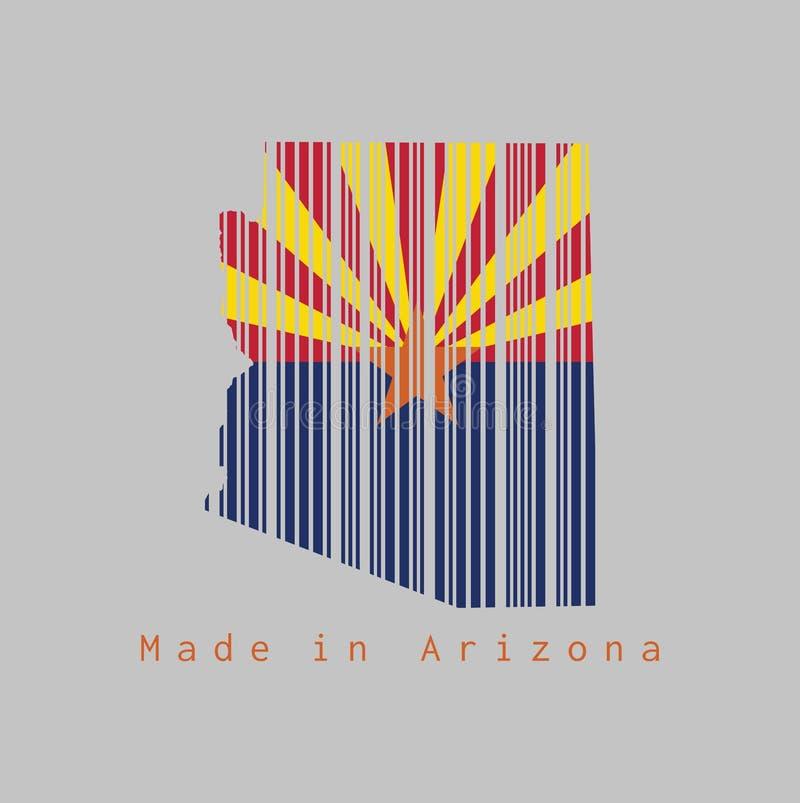 El código de barras fijó la forma al esquema del mapa de Arizona y al color de la bandera de Arizona en el fondo gris, texto: Hec stock de ilustración