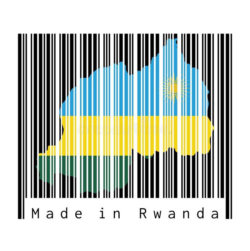 El código de barras fijó la forma al esquema del mapa de Rwanda y al color de la bandera de Rwanda en código de barras negro con  libre illustration