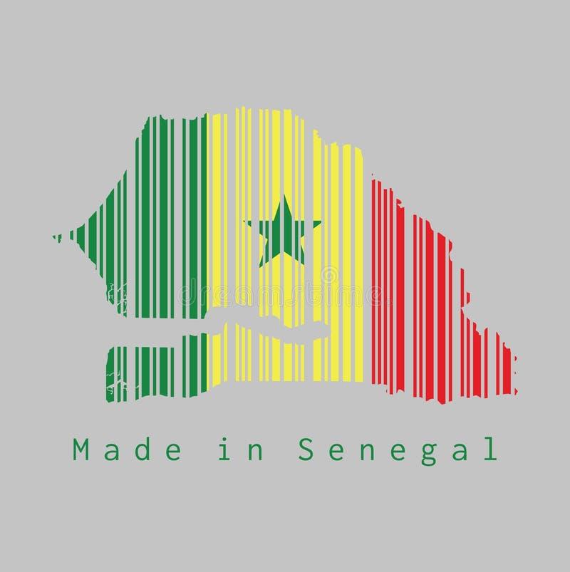 El código de barras fijó la forma al esquema del mapa de Senegal y al color de la bandera de Senegal en fondo gris libre illustration