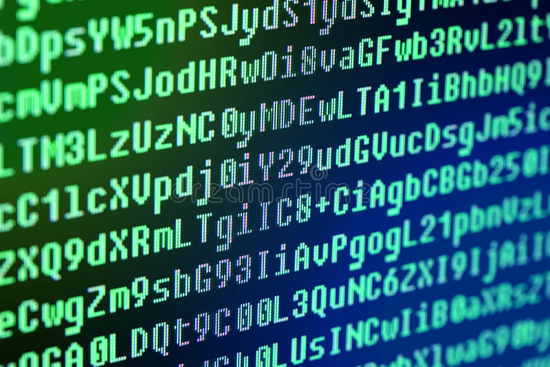 El código de programa en la pantalla de ordenador imagenes de archivo