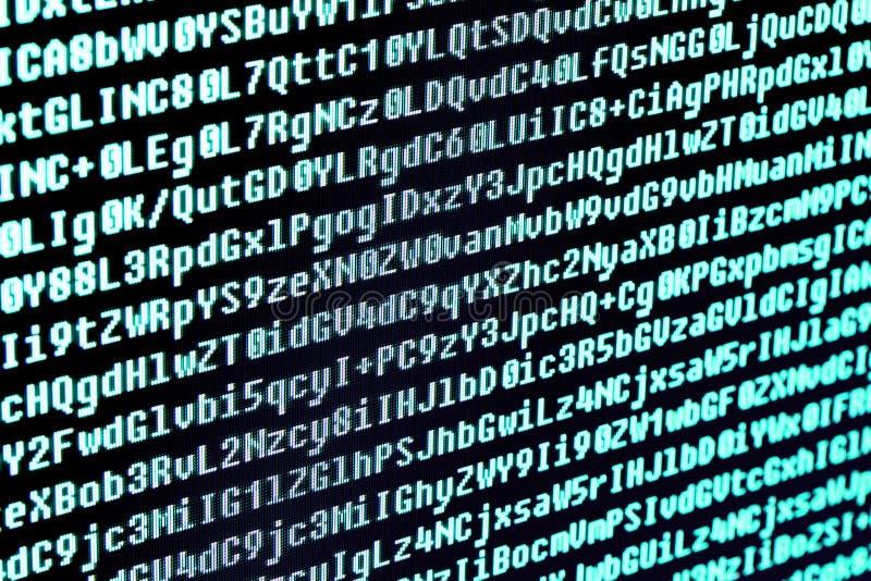 El código de programa en la pantalla de ordenador Macro imagen de archivo