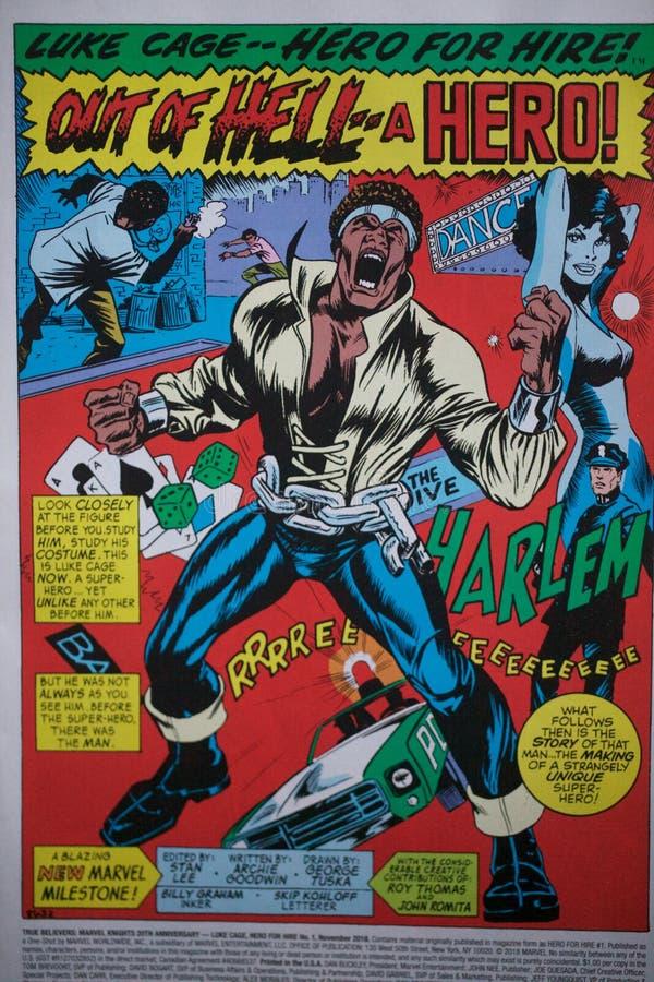 El cómic del super héroe que ofrecía el carácter negro llamó a Luke Cage, producido por el Marvel Comics, y hecho recientemente e fotografía de archivo libre de regalías