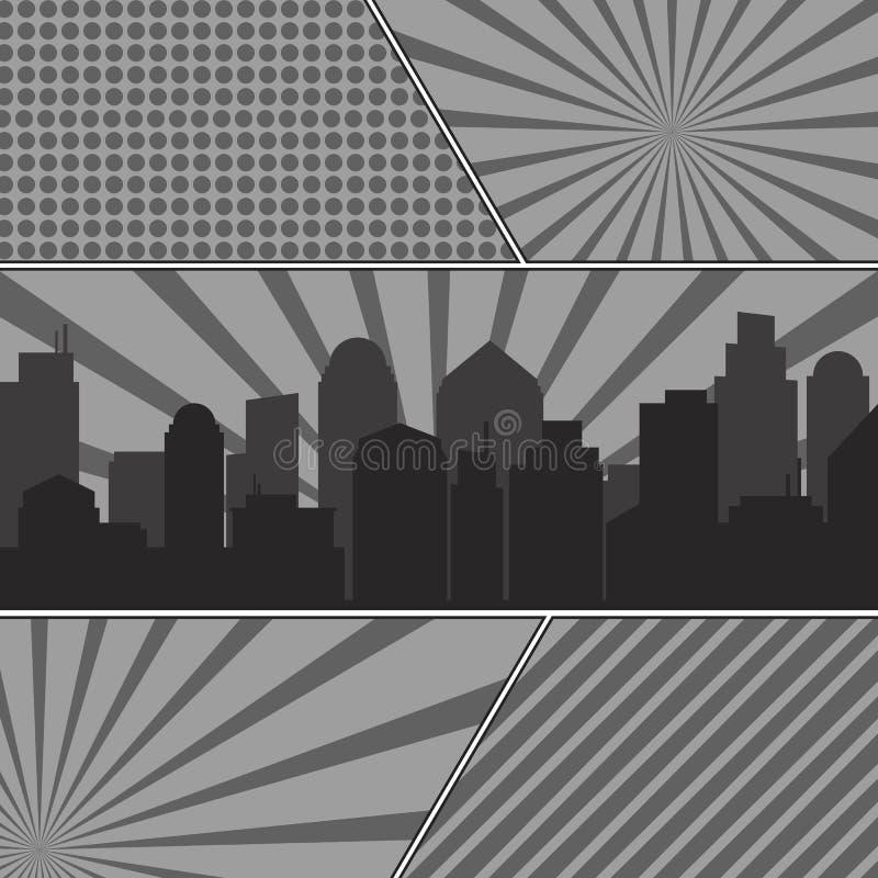 El cómic monocromático pagina la plantilla con los fondos radiales y ilustración del vector