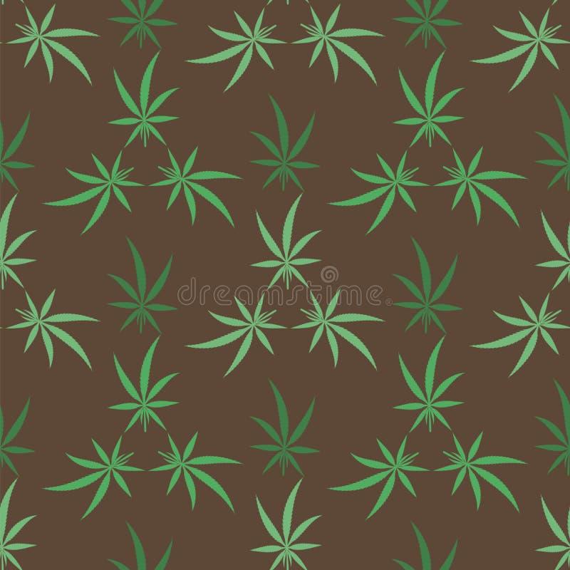El c??amo verde sale del fondo Modelo incons?til de la marijuana m?dica Textura narc?tica stock de ilustración