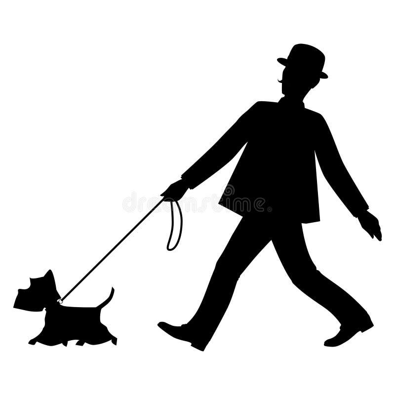 El caballero de las siluetas y su perro están caminando ilustración del vector