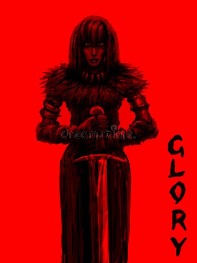 El caballero femenino es guerrero glorioso de la luz ilustración del vector
