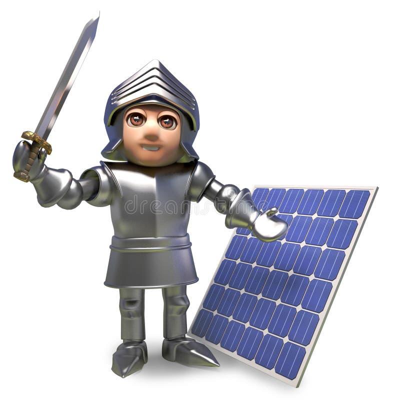 El caballero medieval con visión de futuro en armadura ha invertido en un panel solar, ejemplo 3d stock de ilustración