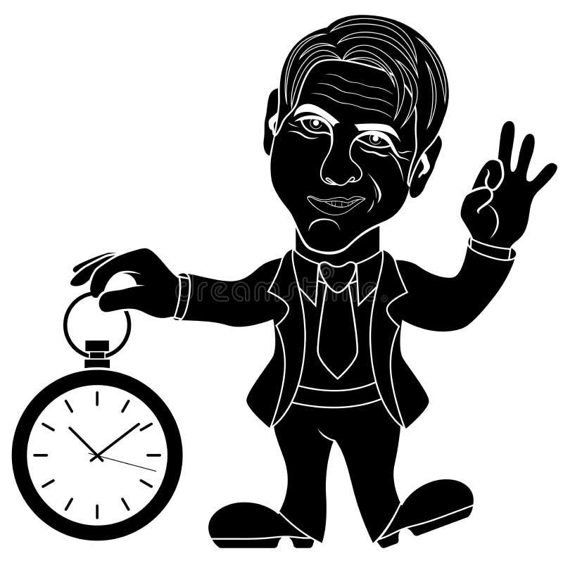 El caballero sostiene un reloj stock de ilustración