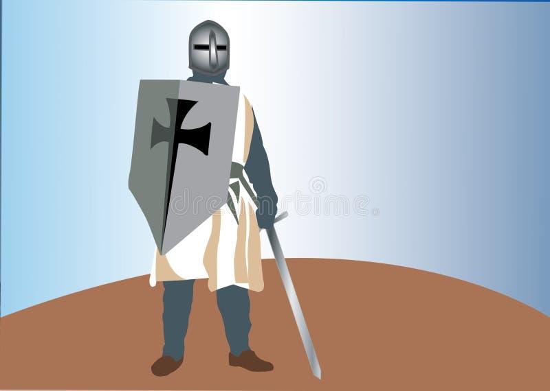 El caballero temible Templar ilustración del vector