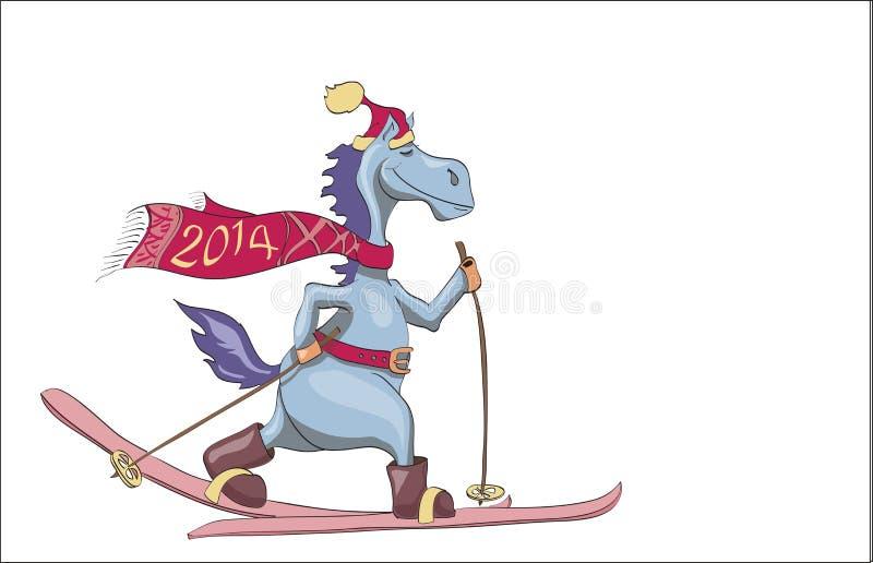 El caballo azul del Año Nuevo de esquí. 2014 libre illustration
