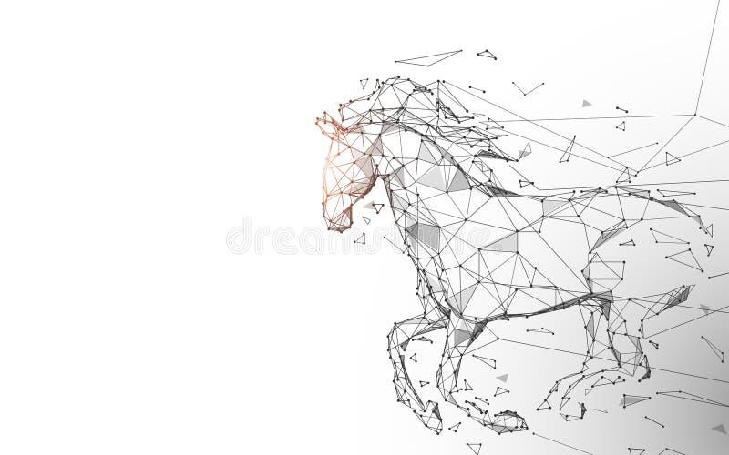 El caballo funciona con galope de líneas, de triángulos y de diseño del estilo de la partícula ilustración del vector