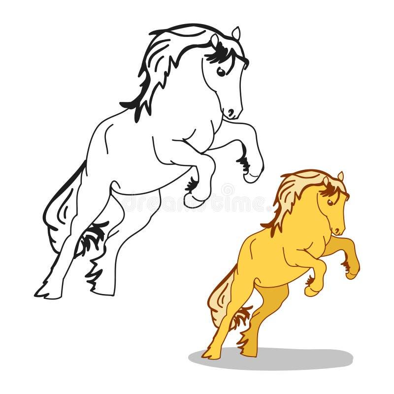 El caballo se colocaba en sus piernas traseras, el galope del semental libre illustration