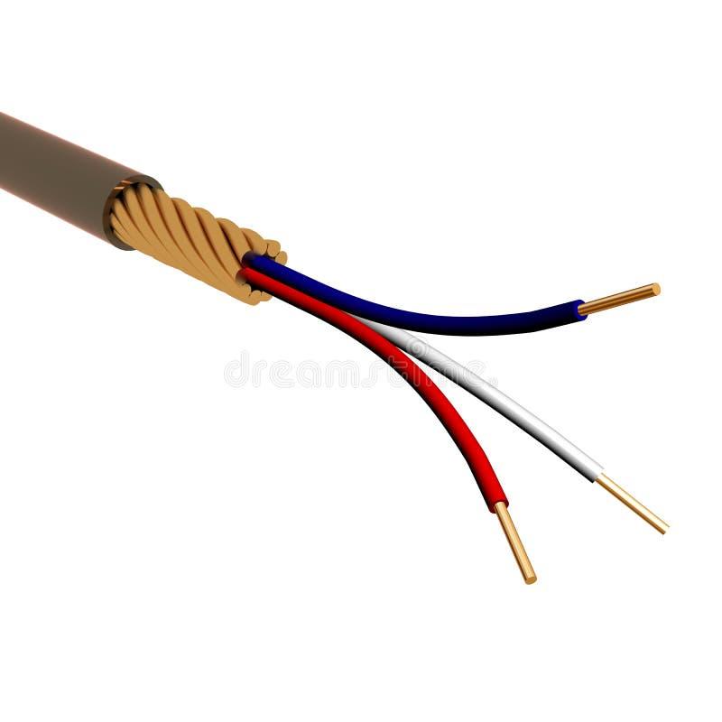 El cable eléctrico en el fondo blanco. imagen 3D. imagenes de archivo