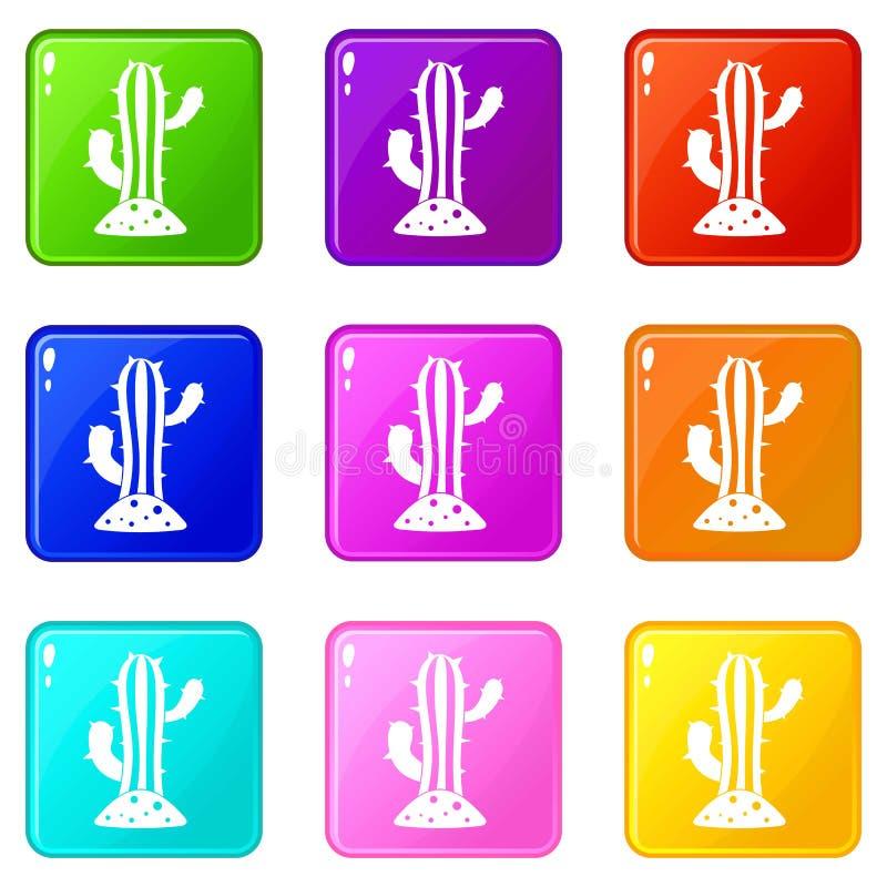 El cactus fijó 9 stock de ilustración