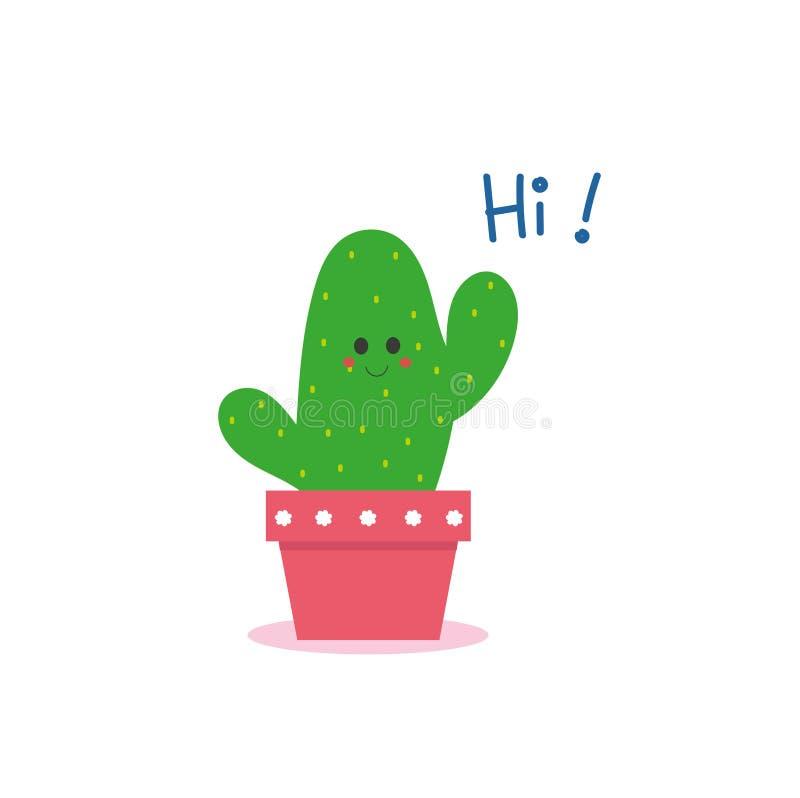 El cactus lindo dice hola stock de ilustración