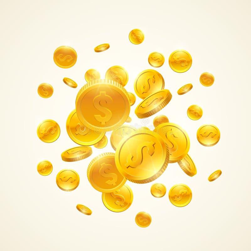 El caer abajo monedas de oro con símbolo del dólar Ilustración del vector ilustración del vector