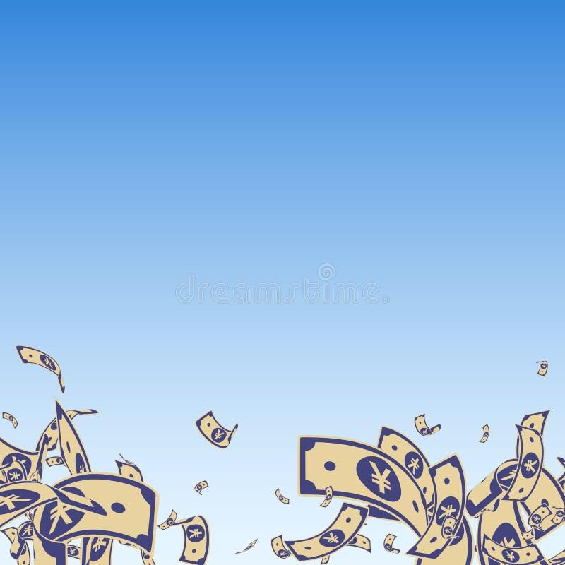 El caer china de las notas del yuan Cuentas sucias del CNY en fondo del cielo azul Dinero de China Illus divino del vector libre illustration