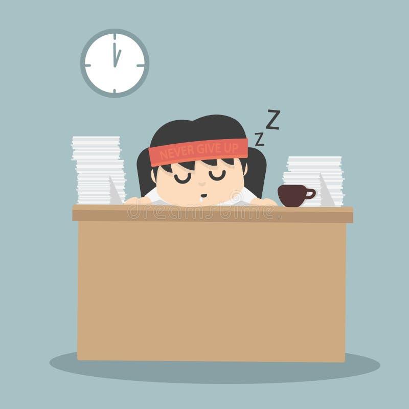El caer del hombre de negocios dormido stock de ilustración