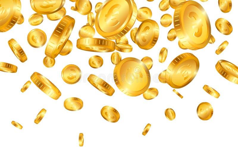 El caer del superior muchas monedas de oro euro en el fondo blanco Ilustraci?n del vector ilustración del vector