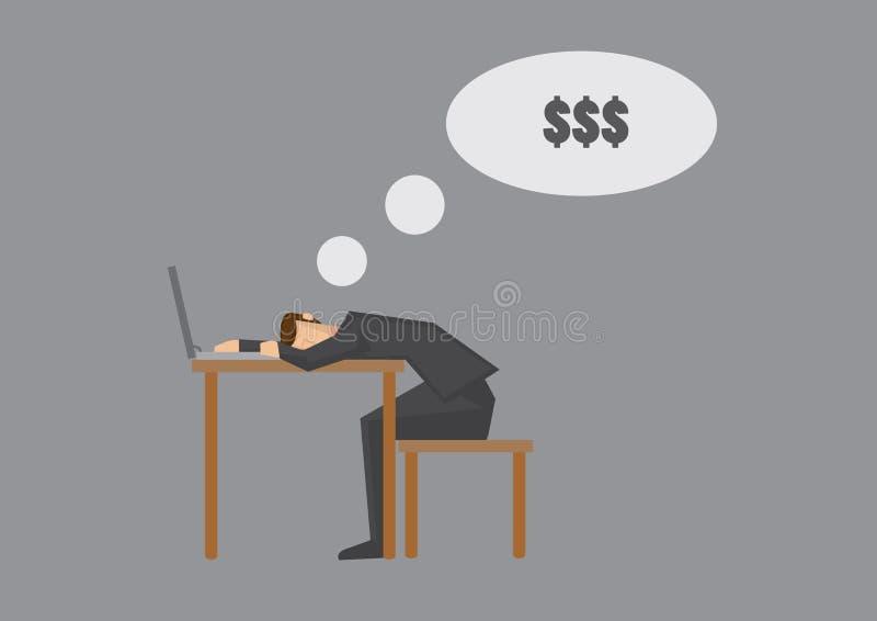 El caer dormido y sue?o con el ejemplo de la historieta del vector del dinero stock de ilustración