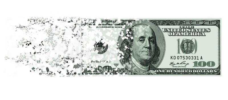 El caer a la nota de los pedazos de los E.E.U.U. cientos dólares stock de ilustración