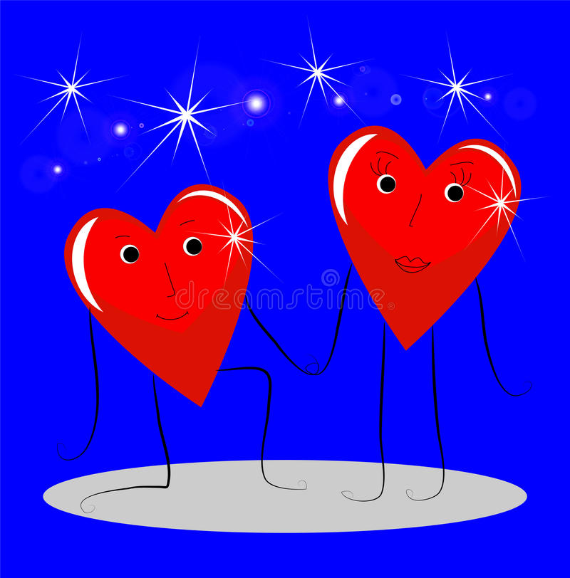 El caer roja brillante dos en el amor del corazón stock de ilustración