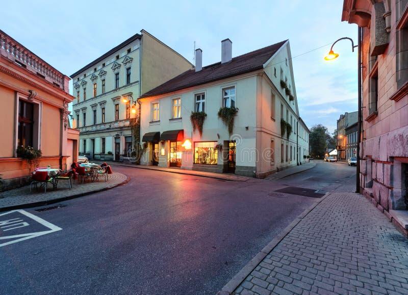 El café de la calle en Tarnowskie sangriento, Polonia fotos de archivo libres de regalías