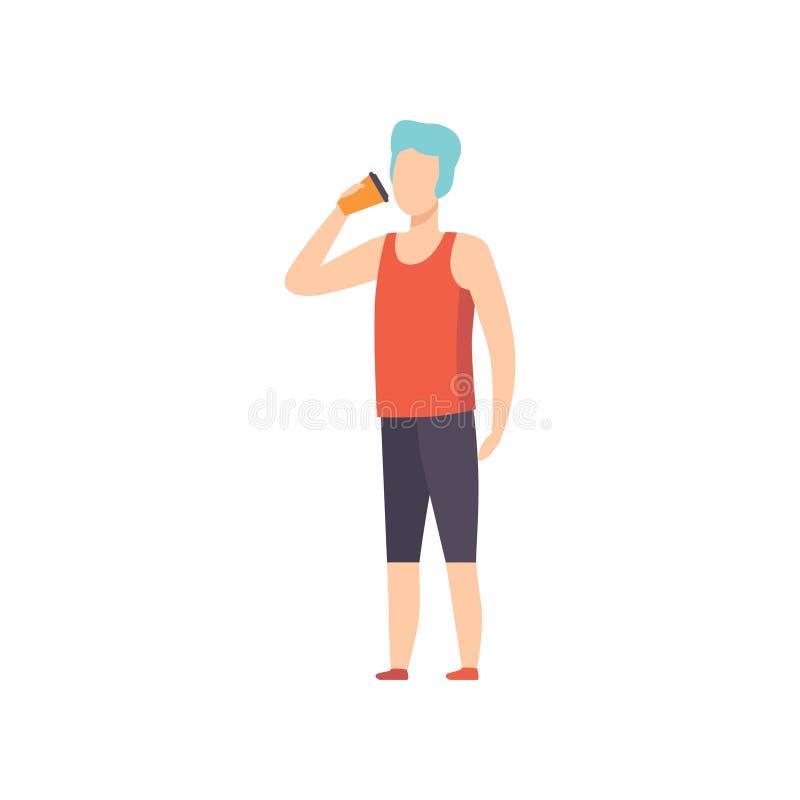 El café del drinkig del hombre joven, individuo que sostiene el papel se lleva el ejemplo del vector de la taza de café en un fon libre illustration