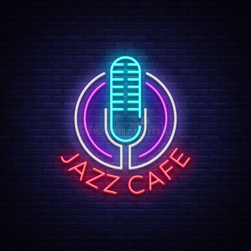El café del jazz es una señal de neón Símbolo, logotipo del neón-estilo, bandera brillante de la noche, publicidad luminosa en la stock de ilustración