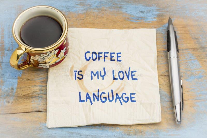 El café es mi lengua del amor imágenes de archivo libres de regalías