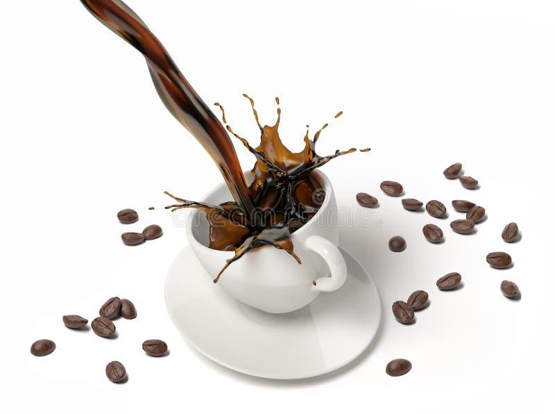El café líquido vierte y salpica en una taza blanca en el platillo foto de archivo