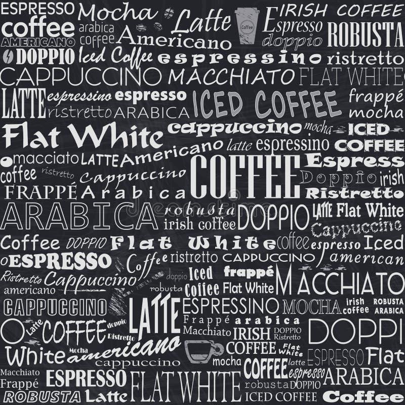 El café redacta etiquetas inconsútiles del fondo libre illustration