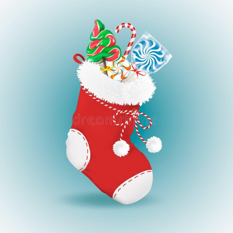 El calcetín rojo de la Navidad con la piel mullida y los pompones llenaron de los regalos tradicionales Caramelos Piruleta, bastó ilustración del vector