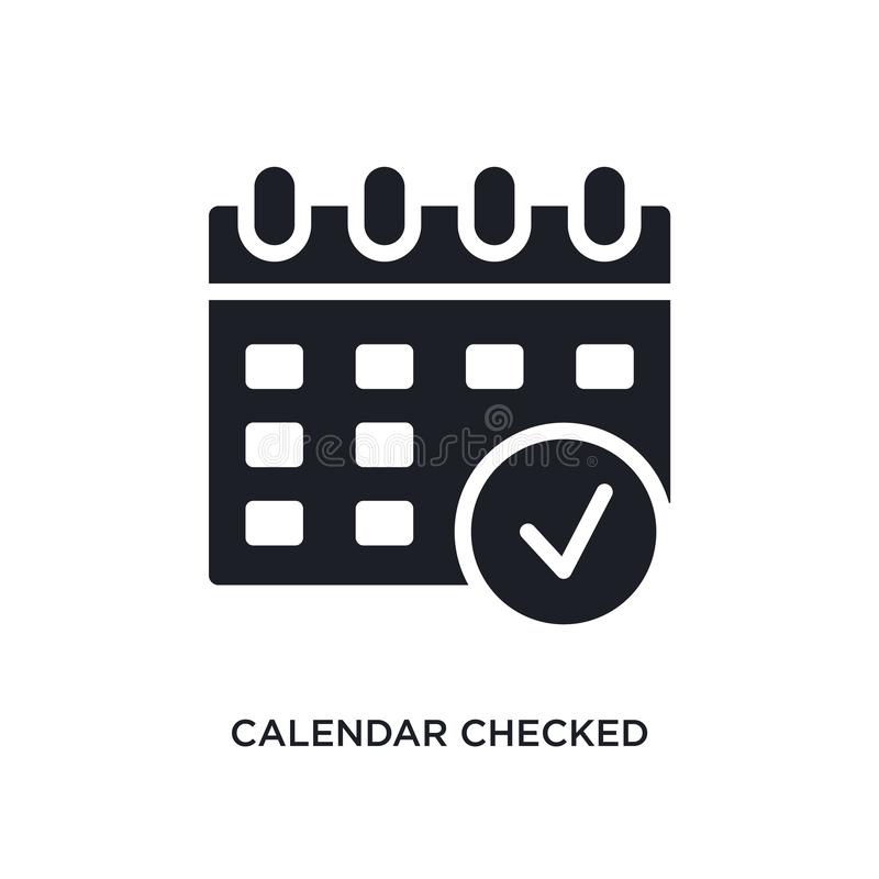 el calendario comprobó el icono aislado ejemplo simple del elemento de últimos iconos del concepto de los glyphicons el calendari stock de ilustración