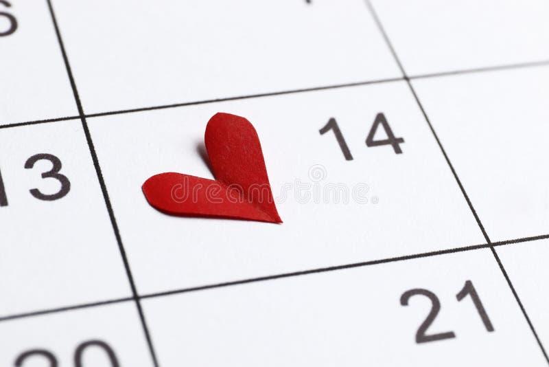 El calendario con la fecha del 14 de febrero imagenes de archivo