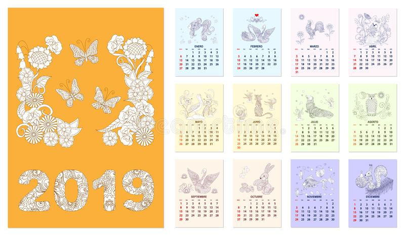 El calendario 2019 con el sistema de zen ilustró español de doce meses de las páginas libre illustration