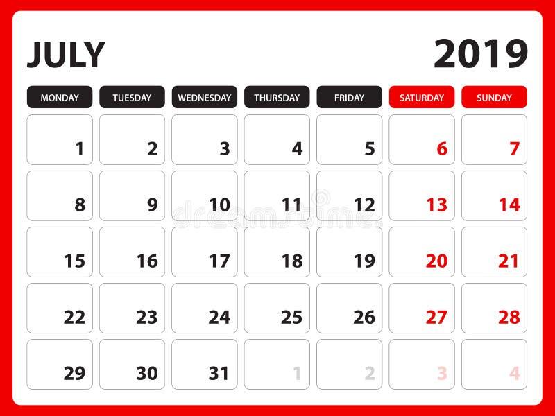 El calendario de escritorio para la plantilla de julio de 2019, calendario imprimible, plantilla del diseño del planificador, sem ilustración del vector