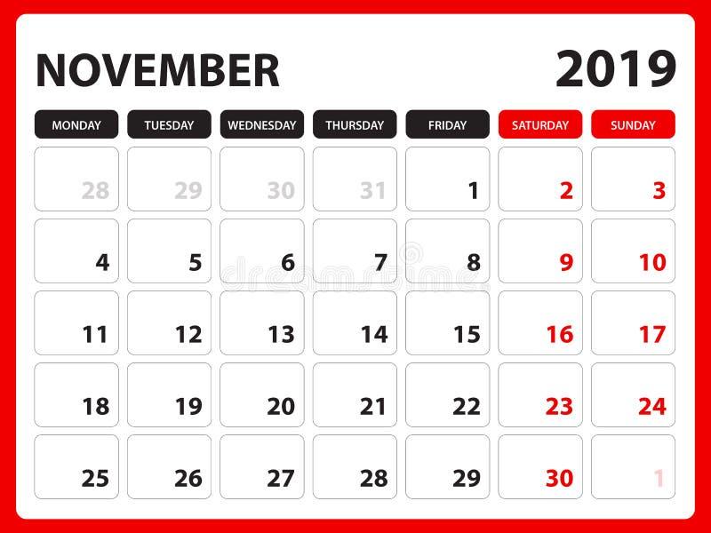 El calendario de escritorio para la plantilla de noviembre de 2019, calendario imprimible, plantilla del diseño del planificador, stock de ilustración