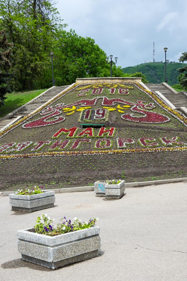 El calendario de la flor en el parque de la ciudad en Pyatigorsk imagen de archivo