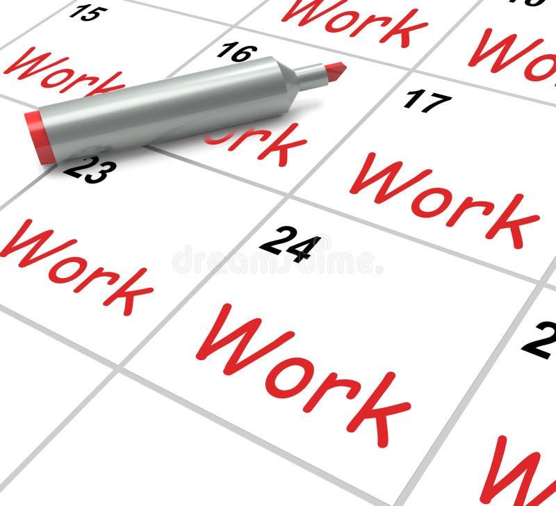 El calendario del trabajo muestra el empleo Job And stock de ilustración