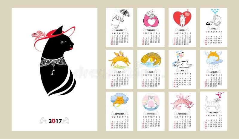 El calendario del vector fijó por 2017 años en la línea arte y el estilo del contorno stock de ilustración