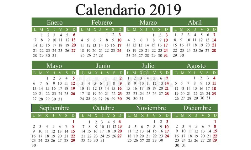 El calendario español 2019, hace calendarios el Año Nuevo, año civil 2019, Ca libre illustration