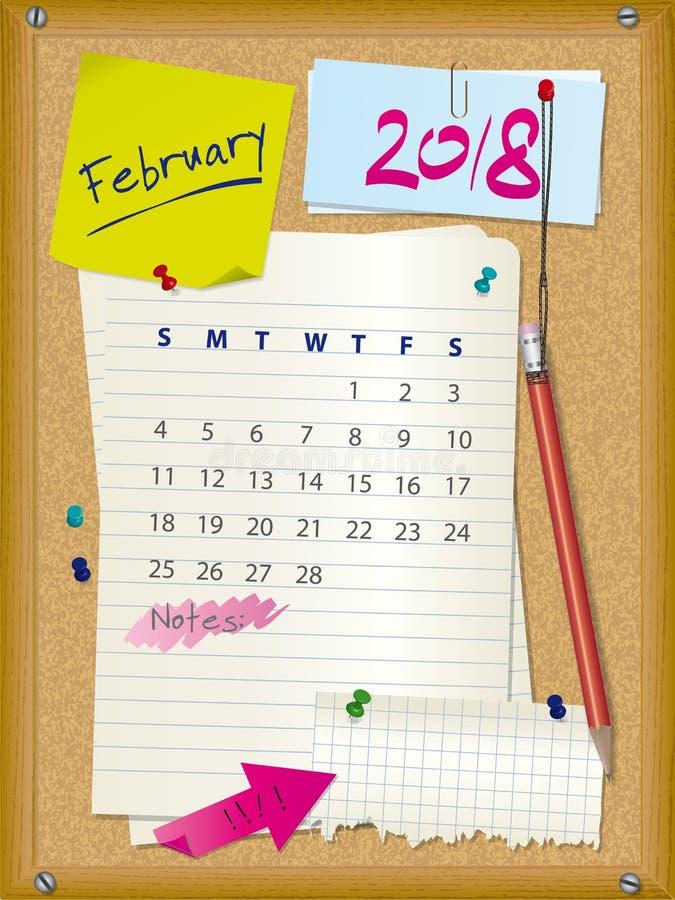 2018 El Calendario - Mes Febrero - Tape Al Tablero Con Corcho Con ...