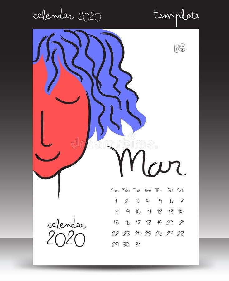 el calendario para 2020, poniendo letras al calendario, marzo de 2020 plantilla, ejemplo a mano del vector de la historieta se pu libre illustration
