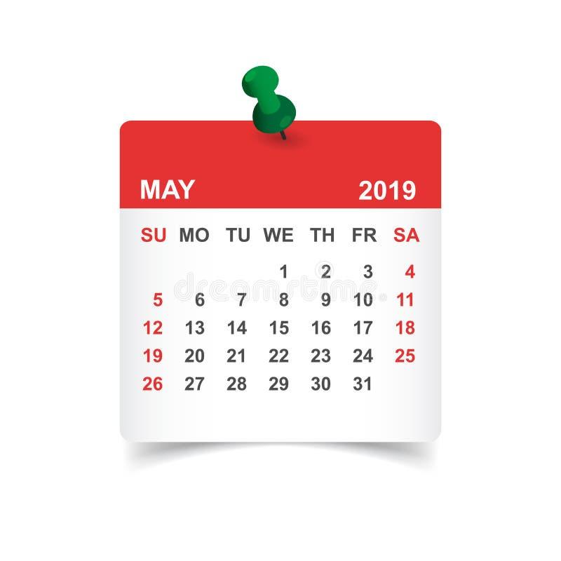 El calendario puede 2019 años en la etiqueta engomada de papel con el perno Plann del calendario stock de ilustración