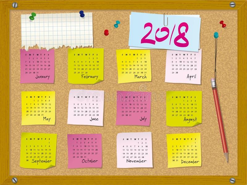 2018 el calendario - semana comienza el domingo - tape al tablero con corcho con las notas libre illustration