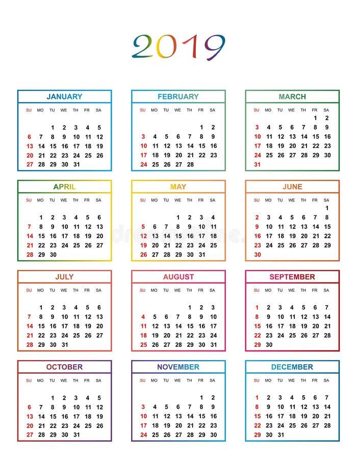 Calendario Simple Del Color Por El Año 2019 Los Nombres De Días Y De Meses En Fila Numeraron Días En Los Círculos Coloreados En U Ilustración Del Vector Ilustración De Color