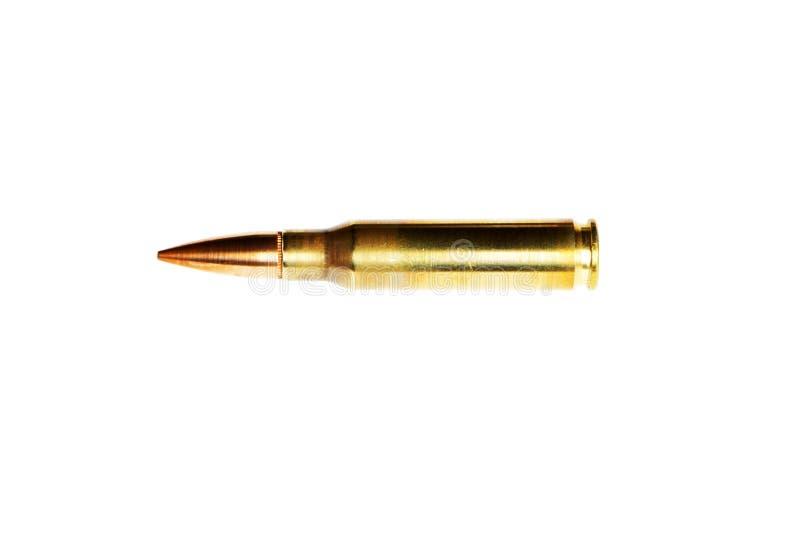 El calibre 308 Winchester del cartucho del rifle aisl? en el fondo blanco fotos de archivo libres de regalías