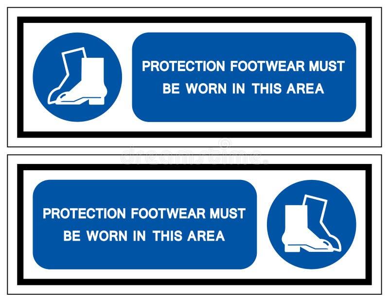 El calzado de la protecci?n se debe llevar en esta muestra del s?mbolo del ?rea, ejemplo del vector, aislante en la etiqueta blan ilustración del vector